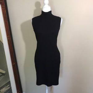 St. John Sport Black Santana Knit Mock Neck Dress